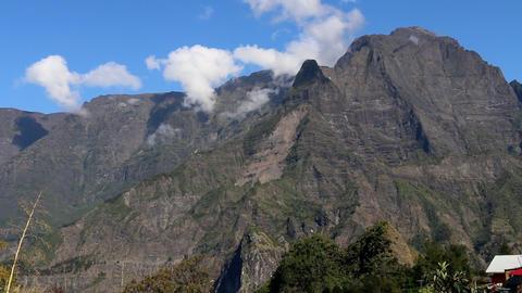 La Reunion Piton des Neiges mountain view panorama, Live Action