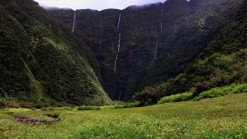 La Reunion le Grand Etang valley with waterfalls and... Stock Video Footage