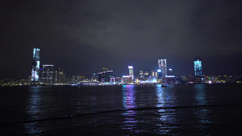 Night view of Tsim Sha Tsui in Kowloon, Hong Kong Footage