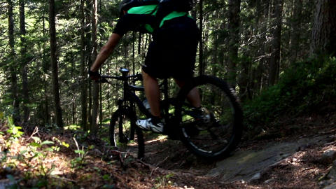 Mountainbiker downhill a difficult stone track in a forest slow ビデオ
