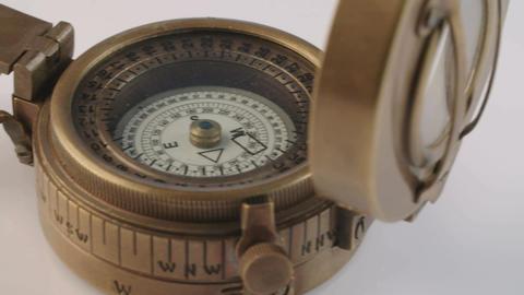 Macro shot of antique navigation instrument on dark background Footage