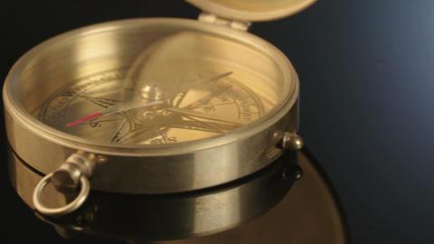 Macro shot of antique navigation instrument on dark background ビデオ
