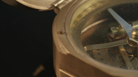 Macro shot of antique navigation instrument on dark background Image