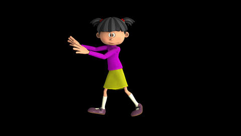 girl dancing cartoon,loop, animation, Alpha channel, transparent background Animation