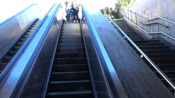University subway station with escalators, Bucharest, Romania Footage