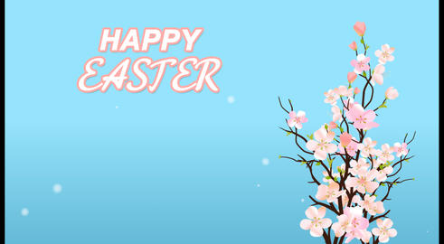 Happy Easter With Blossom Sakura On Blue Background Card or Commercial Template Animación