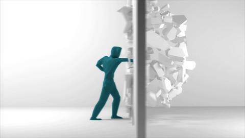 Breakthrough guy - breaking through a wall Animation