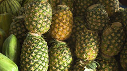 Pineapple in the fruit market Footage