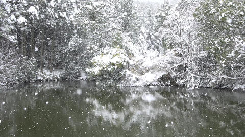 snow and lake at Kyoto Japan Footage