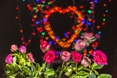 Rose flowers in the heart background Foto