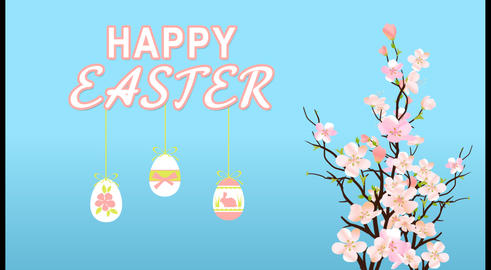 Happy Easter With Eggs And Blossom Sakura On Blue Background Template Animation