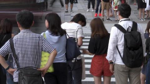 Urban landscape (crosswalk, pedestrian, time lapse, low speed shutter) zoomout Footage