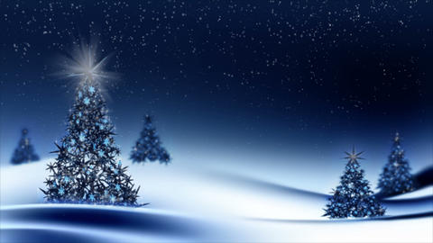 Sparkling decorated Christmas trees with snowflakes Animation