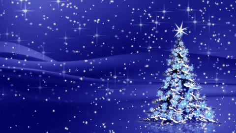 Christmas tree with snowflakes on blue background, winter seasonal scene Animation