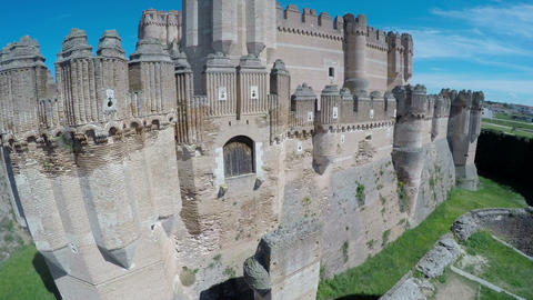 Aerial video of Coca Castle (Castillo de Coca) is a fortification constructed in Footage