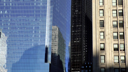 New York City 435 Manhattan financial district; old versus modern facade Footage