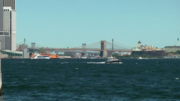 USA New York City 408 East River with Brooklyn Bridge seen from Liberty Island Footage