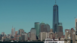 USA New York City 409 Manhattan skyline and Liberty Island ferry Footage