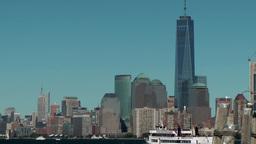 USA New York City 409 Manhattan skyline and Liberty Island ferry Footage