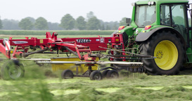 Tractor Haying And Raking, Agriculture Netherlands stock footage