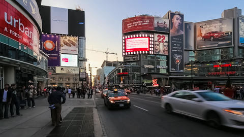 Traffic on Dundas Square in Toronto in Time Lapse, Canada Footage