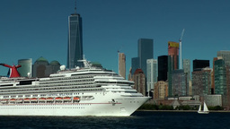 New York City 425 Lower Manhattan skyline behind white big cruise ship Footage
