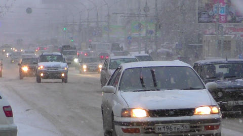 Snowfall in Novosibirsk Footage