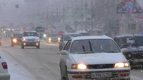 Snowfall in Novosibirsk Footage