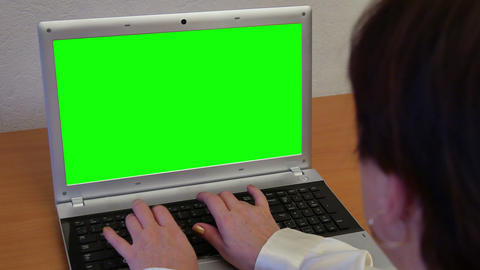 Woman With Green Screen Laptop stock footage
