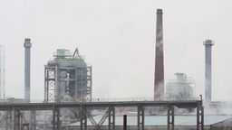 Factory Fumes Rising From A Plywood Plant stock footage