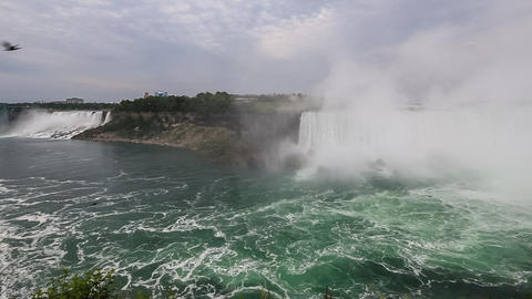 Niagara Falls - Wide Angle View of the American and Canadian Falls Footage