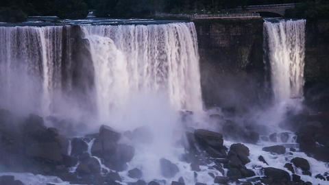 Niagara Falls - Illuminated American Falls And Bridal Veil Falls As Seen From Th stock footage