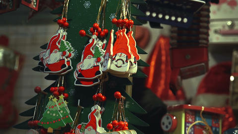 Christmas decorations and toys in the christmas shop Footage