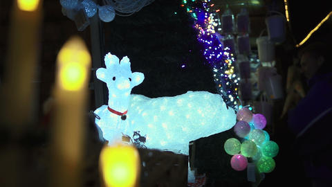 Christmas animals light decorations Footage