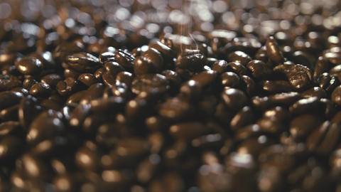 Organic Coffee Beans Extreme Close Up Falling and Landing on Pile Rotating Left Footage
