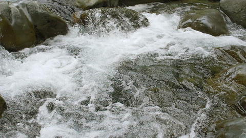Forest River Rapids Flowing Slow Motion Over Small Waterfalls Footage