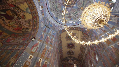 Horizontal panorama of a large domed Orthodox churches 62 Footage
