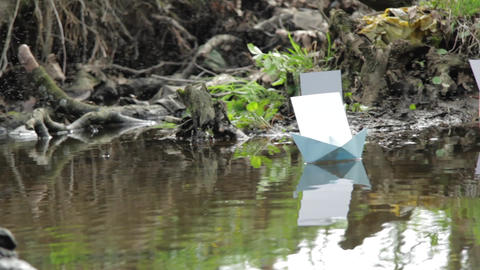 Paper boat floating on the water surrounded by clouds of insects 141 Footage