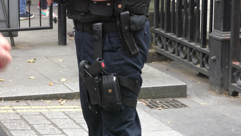 Armed police in Britain Stock Video Footage