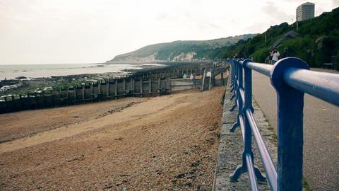 The sidewalk on the beach Footage