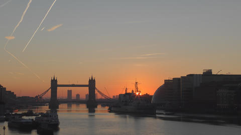 Time lapse. Sunrise over the River Thames Footage