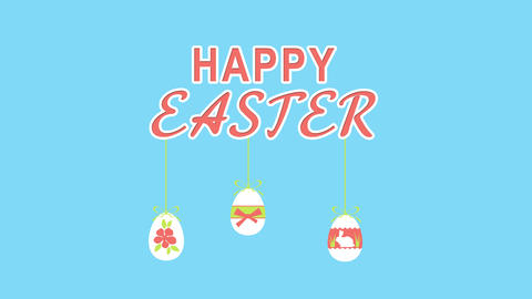 Happy Easter With Fun Eggs On Transparent Background For Greeting Card Or Commer CG動画素材