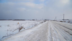 Winter landscape of fields and roads Footage