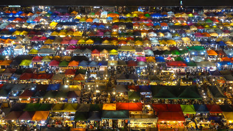 High view of Rod Fai Night Market, Ratchada Live Action