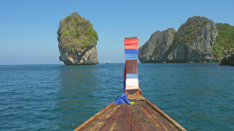 View on rocks from the floating boat, Thailand ビデオ