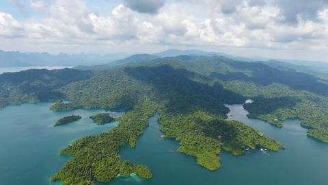 Aerial panorama view on Cheow Lan Lak in Thailand Footage