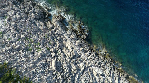 Aerial view of rocky coastline Footage