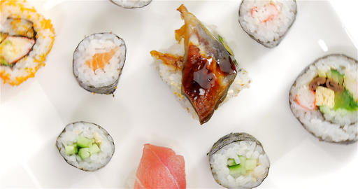 Several japanese sushi pieces rotating Footage