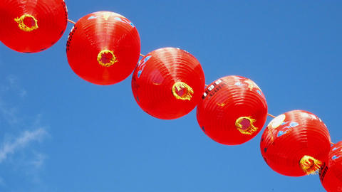 Chinese lanterns and blue sky background