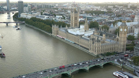 Palace of Westminster and Westminster bridge aerial view Footage
